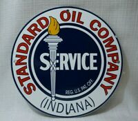 VINTAGE STANDARD INDIANA PORCELAIN SIGN GAS MOTOR OIL METAL STATION GASOLINE