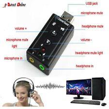 USB PC Laptop To Mic Speaker Headphone 7.1 Channel 3D Audio Sound Card Adapter U