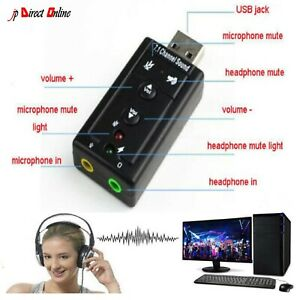 USB PC Laptop To Mic Speaker Headphone 7.1 Channel 3D Audio Sound Card Adapter U
