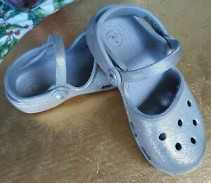 Gorgeous CROCS Glitter Silver Size 11 C Round Toe Mary Jane Sling Back Sandals