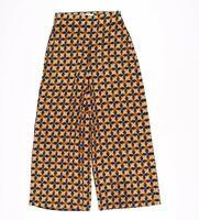 Zara Printed Wide Leg High Waist Crop Pants Size S Small