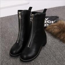 Women's Front Zipper Leather Riding Shoes  Black Flat Bottom Martin High Boots