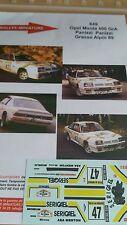 DECALS 1/18 REF 849 OPEL MANTA PANIZZI RALLYE GRASSE ALPIN 1989 RALLY