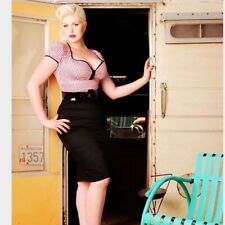 Deadly Dames Women's Pin up MOD Troublemaker Dress Red Gingham top Black Bottom