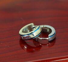 pari titanium men women silver blue  Huggie Hoop Earring uk 7581