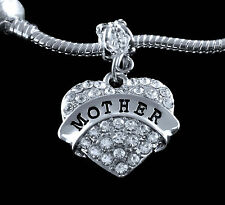 Mother charm   Crystal Heart   fits european style  Bracelet & Necklace
