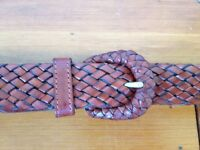 Nordstrom Braided Genuine Thick Brown Leather Handmade in Turkey Woven Belt L 34