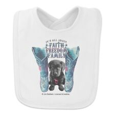 It's All About Faith Freedom Family Boots Dog Baby Bib