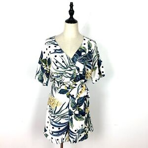 BNWT Womens Size 12 Playsuit Green White Tropical Floral Leaf Romper RRP $39
