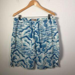 Peter Alexander Mens Pyjama Sleep Shorts Size 2XL Blue Cloud Print Cotton