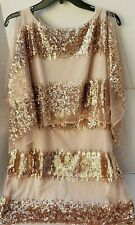New Belle Badgley Mischka Rose Gold Sequin Tulle Womens Bat Metallic Dress 14