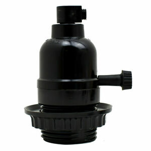 Bulb Holder E27 Black in Switch for Lamp Pendant With Shade Ring & Cord Grip UK