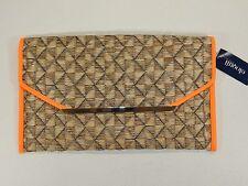Women's Orange Trim Tan Straw Gold Chain Over-sized Clutch Purse Bag ELOQUII