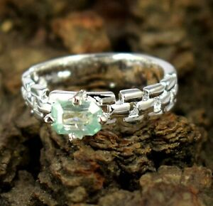 Certified 3.53 Ct Green Diamond Solitaire Ring 925 Sterling Silver-Free Delivery