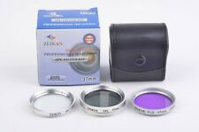 MINT- ZEIKOS 37mm UV, CPL, FLD FILTERS IN POUCH, VERY CLEAN