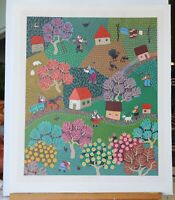 "MILINROV RUSSIAN FOLK ART LIMITED EDITION NAIVE ""Countryside"" Vibrant colors"