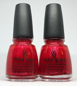 China Glaze Nail Polish RASPBERRY FESTIVAL 715 Berry Red Micro Shimmer Lacquer