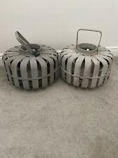 French Connection Grey Wooden Garden Lanterns X 2