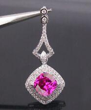 2.00 Carat Natural Pink Tourmaline EGL Certified Diamond 14KT White Gold Pendant