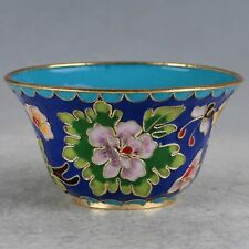 BEAUTIFUL CHINESE CLOISONNE PURE HAND-MADE FLOWERS BOWL