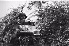 WW2 - Char de la 1ère Panzerdivision à côté épave avion allié en Normandie 06.44