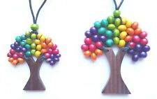 Tree of Life Necklace Natural Wood Beads Set of 2 Funky Colours Rainbow.