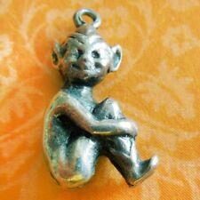 Vintage SITTING CORNISH PIXIE KNEES UP Sterling Silver Souvenir Travel Charm