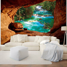 TAPETEN FOTOTAPETE Natur Grotte Pflanzen Braun Poster Wasser 10255 P4