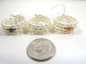 Lee Sands Set of 3 pink coral, lapis lazuli, all pearl coil ring one size
