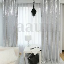 2 Panels Silver Shimmer Sequins Fabric Photography Backdrop Wedding Deco 2FTX7FT