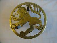 Antique Brass Trivet Stand Scottish Rampant Lion Height 10 cm diameter 18.5cm