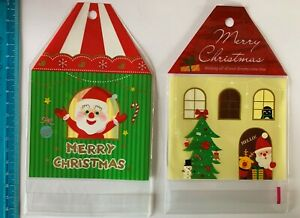2 x 25 Christmas Cellophane bags for sweets, cookies, cupcakes, etc. 2 designs