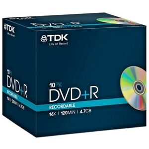 TDK DVD+R 4.7GB 16x Speed 120min Recordable DVD Discs Jewel Case Pack 10