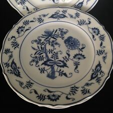 BLUE DANUBE Japan BLUE ONION Salad Plate scalloped rim 8 3/4 inch  3 available