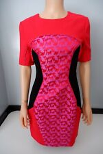 Matthew Williamson Dress Short Sleeve 100% Silk Size Uk 10 Vgc Red & Pink