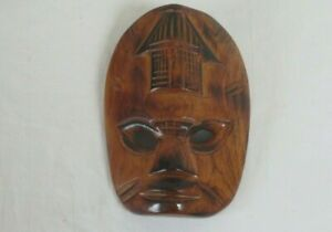 READY TO HANG HAND CARVED VARNISHED WOODEN WALL MASK 15 H X 11 CM W