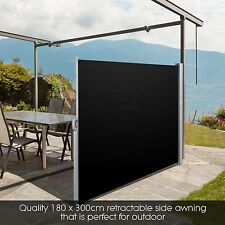 UV &Tear Resistant Retractable Side Awning Shade 180cm Black Automatic roll-back
