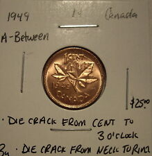 Canada George VI 1949 A Between 2 Die Cracks Small Cent - BU