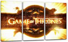 120x80cm Lein-Wand-Bild: Game of Thrones Logo Titel-Schrift vor gleißender Sonne