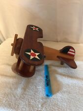 Vintage Wooden Toy Propeller Airplane With Vintage Star Symbol