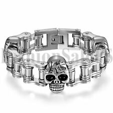 "Punk Mens Silver Stainless Steel Skull Motorcycle Biker Chain Link Bracelet 8.7"""