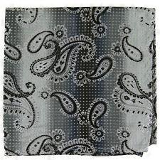 New Men's poly Pocket Square Hankie Handkerchief Gray paisleys pattern formal