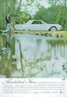 1962 Ford PRINT AD White Thunderbird 2 Door Landau Hardtop Couple at Pretty Lake