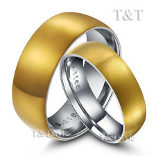 T&T 14K Gold GP Stainless Steel Matt Finished Wedding Band Ring For Couple