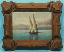 Antique Swiss Oil Painting/Masonite Interlaken LakeThun? Sailboat TrampArt Frame
