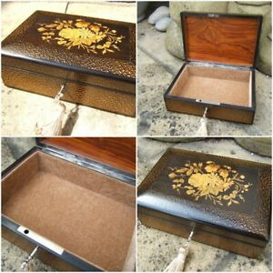 LOVELY VERY RARE FRENCH 19c ANTIQUE MARQUETRY JEWELLERY BOX - FAB INTERIOR