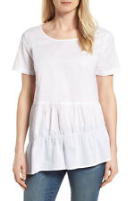 Pleione White Oversized Ruffle Tier Stripe Top Sz M  Retail $80