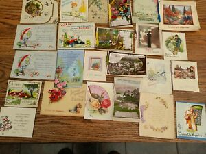 Lot 24 Vintage Birthday Cards Used/Unused incl.MIA./ Barton/A.M DAVIS/ ROTARY