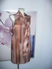 Alba Moda Etui Kleid Dress mit Schal Schluppe Grafik Print nude braun Gr 38-40