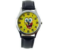 SPONGE BOB De Acero Inoxidable de Cuero Negro Reloj de película de película Amarillo Dial Redondo Reino Unido